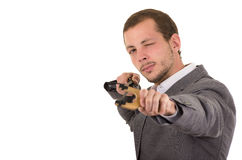 Hansome biznesowego mężczyzna skoncentrowany celowanie a zdjęcie stock