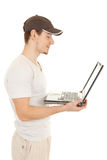 Hansome casual man with laptop Royalty Free Stock Photo