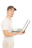 Hansome casual man with laptop Royalty Free Stock Image