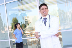 Hansome Doctor Outside Hospital Royalty Free Stock Photos