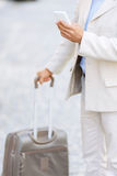 Hansome man holding his travel bag Royalty Free Stock Image