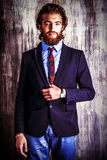 Hansome masculinity. Respectable handsome man in a suit smiles at camera. Men's fashion Royalty Free Stock Image
