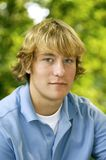 Hansome Teen. Young blond teenage posing for his senior portraits stock photos