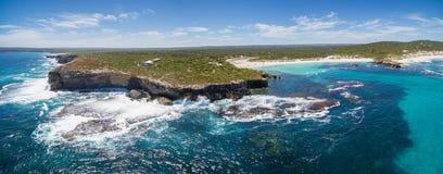 Hanson Bay coastline aerial panorama. Kangaroo Island, South Aus Stock Image