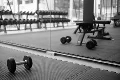 Hantel på golv i monokrom effekt för konditionutbildningsidrottshall och arkivfoto