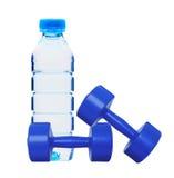 Hantelkondition och flaska av vatten arkivfoto