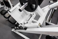 Hantlar modern utrustning för idrottshallviktutbildning för övningar arkivbilder