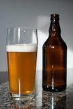 Hantverkölexponeringsglas och ölflaska Arkivbild