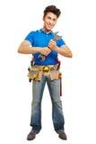 Hantverkare med den stora skiftnyckeln Royaltyfri Bild