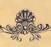 Hantverket för garnering för den retro stuckaturen för tappning skissar det blom- Royaltyfria Foton