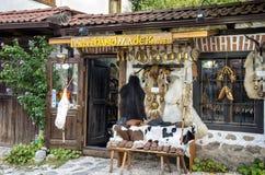 Hantverket shoppar i Bansko, Bulgarien Royaltyfri Foto