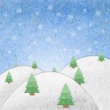 hantverkfältpapper återanvänder snow Arkivfoton