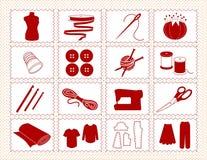 hantverkramsymboler som syr stitchery Arkivfoton