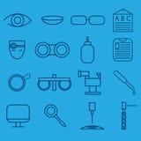 hantverksymbolsuppsättning av oftalmologi och optometry stock illustrationer