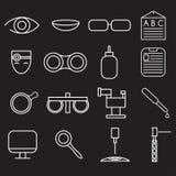 hantverksymbolsuppsättning av oftalmologi och optometry vektor illustrationer