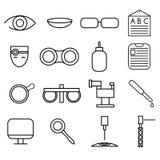 hantverksymbolsuppsättning av oftalmologi och optometry royaltyfri illustrationer