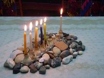 hanuka светов горящей свечи Стоковая Фотография