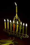 Hanuka candles in hanukkiya Stock Photos