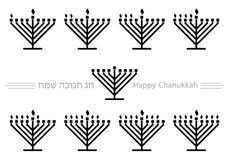 Hanuka menorah icons. Hanukkah / Chanukkah candles lighting order Royalty Free Stock Image