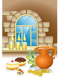 Hanuka still life background. With candles, donuts and window and coins Stock Photo