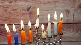 Hanukah candles celebrating the Jewish holiday stock video footage