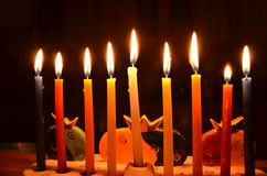 Hanukah candles. Close up of Hanukah candles stock photos