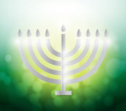 Hanukah candles over a colorful green illustration Royalty Free Stock Photos