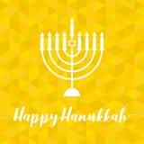 Hanukah feliz caligráfico con el menorah ilustración del vector