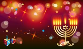 Hanukka festival of lights Jewish Holiday wallpaper. Happy Hanukkah Holiday greeting poster with donuts - traditional cakes, dreidel spinning top, candles with Royalty Free Stock Image