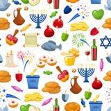 hanukkah счастливый вектор предпосылки безшовный Иллюстрация праздника стиля шаржа еврейская Стоковое фото RF
