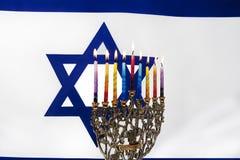 Hanukkah. Menorah with Israeli flag