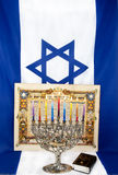 Hanukkah. Menorah with Israeli flag Stock Photos