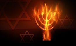 Hanukkah. The hot burning contour of a menorah