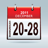 Hanukkah 2011. Jewish hanukkah 2011 dates in december with red calendar Royalty Free Stock Photography