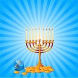 Hanukkah Background. Jewish festival of Hanukkah/Chanukah Background, including Menorah, dreidls/sevivot and Hanukkah Gelt