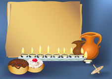 hanukkah background with candles stock illustration