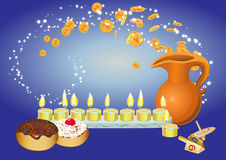 Hanukkah background with candles, donuts, oil pitc Royalty Free Stock Photos