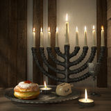 Hanukkah background with candles, donuts, spinning top Stock Photo