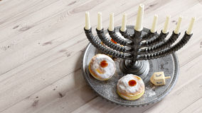 Hanukkah background with candles, donuts, spinning top Stock Image