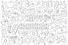 Hanukkah background from line icon. Linear vector pattern. stock illustration