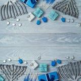 Hanukkah background with menorah Stock Photos