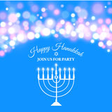 Hanukkah background with menorah and lights. Vector illustration Stock Image