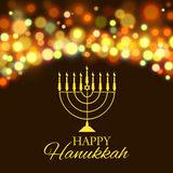Hanukkah background with menorah and lights. Vector illustration Stock Photo