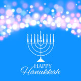 Hanukkah background with menorah and lights. Vector illustration Stock Photography