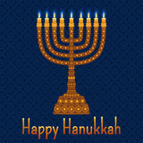 Hanukkah background with menorah and text Happy Hanukkah. Candles, David star and jewels. Beautiful greeting card Royalty Free Stock Photo