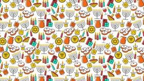 Hanukkah background. Modern animation for Jewish Festival of light Hanukkah with traditional holiday symbols vector illustration