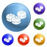 Hanukkah bakery icons set vector stock illustration
