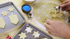 Hanukkah. Baking sugar cookies for Hanukkah stock footage