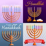 Hanukkah banner set, cartoon style vector illustration