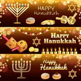 Hanukkah banner set, realistic style stock illustration
